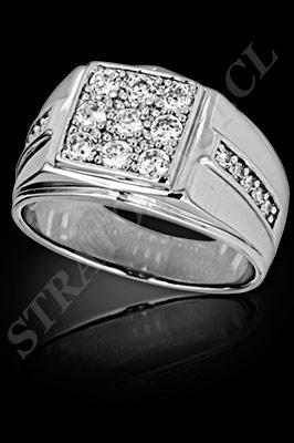 ANILLO para HOMBRE de oro blanco o platino con brillantes  (El modelo: AH0005). Santiago, Chile, Ñuñoa