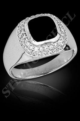 ANILLO para HOMBRE de oro blanco o platino con brillantes, semipreciosas  (El modelo: AH0006). Santiago, Chile, Ñuñoa