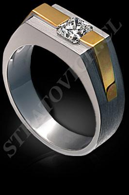 ANILLO para HOMBRE de oro amarillo de 18 kilates, oro blanco o platino con brillantes  (El modelo: AH0008). Santiago, Chile, Ñuñoa