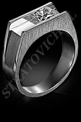 ANILLO para HOMBRE de oro blanco o platino con brillantes  (El modelo: AH0009). Santiago, Chile, Ñuñoa