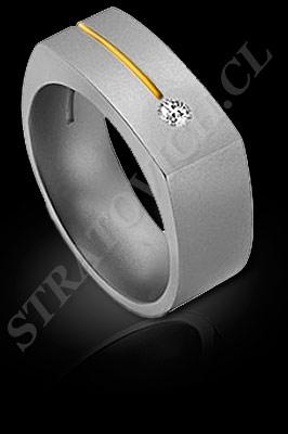 ANILLO para HOMBRE de oro amarillo de 18 kilates, oro blanco o platino con brillantes  (El modelo: AH0017). Santiago, Chile, Ñuñoa