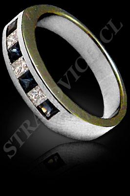 ANILLO para MUJER de oro blanco o platino con brillantes, zafiro  (El modelo: AF0104). Santiago, Chile, Ñuñoa