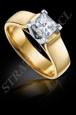 ANILLOS de COMPROMISO de oro amarillo de 18 kilates, oro blanco o platino con brillantes  (El modelo: AC0056). Santiago, Chile, Ñuñoa
