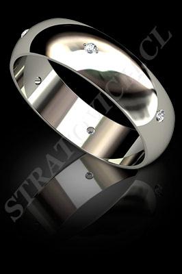 ARGOLLAS de MATRIMONIO de oro blanco o platino con brillantes  (El modelo: AM0008). Santiago, Chile, Ñuñoa