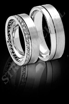 ARGOLLAS de MATRIMONIO de oro blanco o platino con brillantes  (El modelo: AM0016). Santiago, Chile, Ñuñoa
