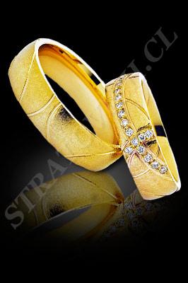 ARGOLLAS de MATRIMONIO de oro amarillo de 18 kilates con brillantes  (El modelo: AM0018). Santiago, Chile, Ñuñoa