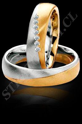ARGOLLAS de MATRIMONIO de oro amarillo de 18 kilates, oro blanco o platino con brillantes  (El modelo: AM0088). Santiago, Chile, Ñuñoa